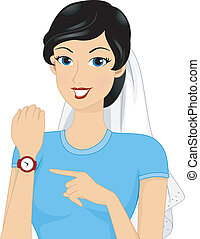 Marrying Age - Illustration Featuring a Bride Pointing to...