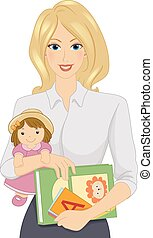 Daycare Worker - Illustration Featuring a Female Daycare...
