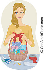 Gift Basket - Illustration Featuring a Woman Making a Gift...