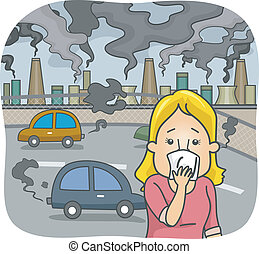 Air Pollution - Illustration Featuring a Woman in a Polluted...