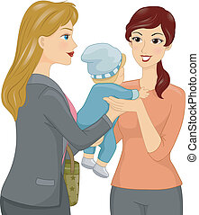 Babysitting - Illustration Featuring a Female Babysitter...