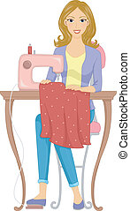 Dressmaker - Illustration Featuring a Girl Making a Dress...