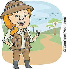 Safari Tour Guide - Illustration Featuring a Female Safari...