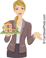 Real Estate Agent - Illustration Featuring a Real Estate...