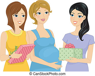 Pregnancy Gifts - Illustration Featuring Women Presenting...