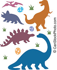 Dinosaur Silhouettes - Illustration Featuring Silhouettes of...