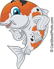 Koi Mascot - Mascot Ilustration Featuring a Koi Giving a...