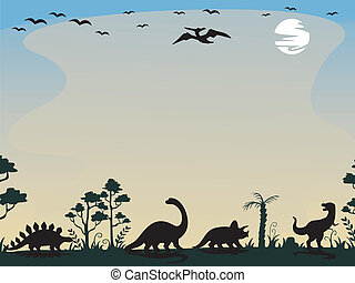 Dinosaur Silhouettes Background - Background Illustration...