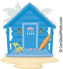 Beach Cabin - Background Illustration Featuring a Beach...