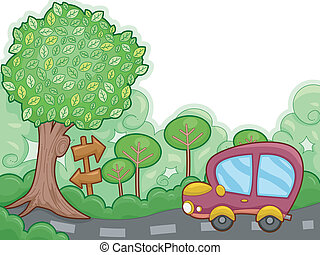 Road Trip - Illustration Featuring a Car on a Road Trip...