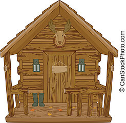Hunting Cabin - Illustration Featuring a Hunting Cabin
