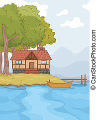 Lakeside Cabin - Illustration Featuring a Log Cabin by a...