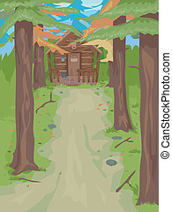 Cabin in the Woods - Illustration Featuring a Cabin in the...