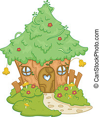 Tree House - Illustration Featuring a Cute Tree House