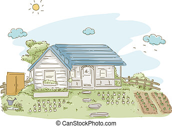 Vegetable Garden - Illustration Featuring a House With a...