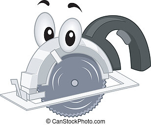 Portable Saw Mascot - Mascot Illustration Featuring a...