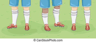Rugby Feet - Cropped Illustration Featuring the Feet of...