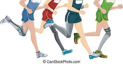 Prosthetic Leg Running - Cropped Illustration Featuring...