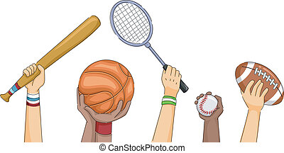 Sports Hands - Cropped Illustration Featuring Hands Holding...