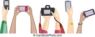 Cameras - Cropped Illustration Featuring People Holding...