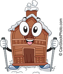 Ski Lodge Mascot - Mascot Illustration Featuring a Ski Lodge