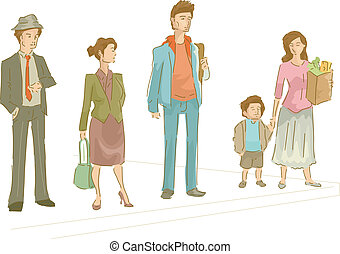 Pedestrian Lane - Illustration Featuring a Group of People...