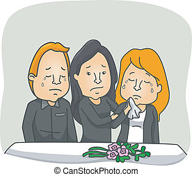 Funeral Service - Illustration Featuring People Weeping at a...