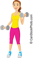 Fitness - Cartoon illustration of a woman exercising with...