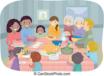 Potluck Party - Illustration Featuring a Group of People...