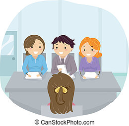 Panel Interview - Illustration Featuring a Woman Being...