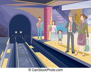 Subway Station - Illustration Featuring Passengers Waiting...