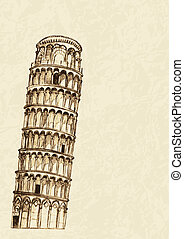 Pisa Leaning Tower - Sketch illustration of Pisa leaning...