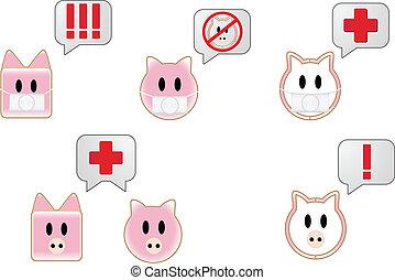 Swine Flu Bubbles - Swine flu with bubbles showing different...