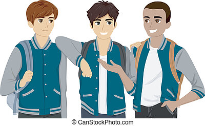 Varsity Jacket - Illustration Featuring a Group of Male...