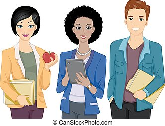 Teachers - Illustration Featuring a Group of People Dressed...