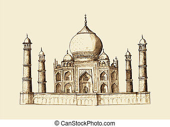 Taj Mahal, India in vintage hand drawn illustration