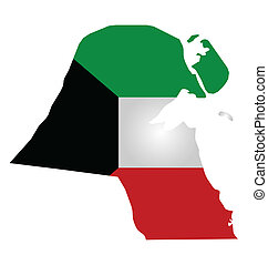Kuwait Flag - Flag of Kuwait overlaid on outline map...