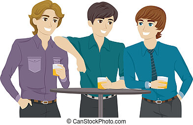 Guys in a Bar - Illustration Featuring Guys Hanging Out in a...