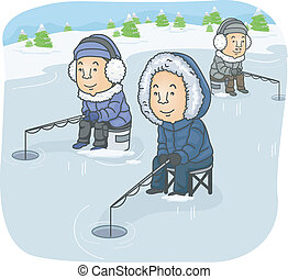 Ice Fishing - Illustration Featuring a Group of Men Ice...