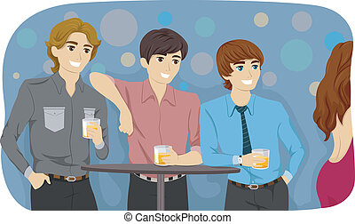 Guys in a Bar - Illustration Featuring Guys Checking Out a...