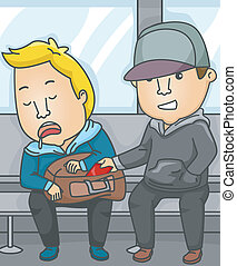 Subway Pickpocket - Illustration Featuring a Pickpocket...