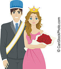 Homecoming King and Queen - Illustration Featuring a Couple...