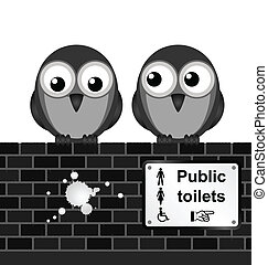 Toilet sign - Monochrome comical toilet sign on brick wall...