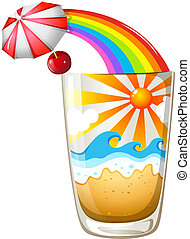 A glass with a summer template - Illustration of a glass...