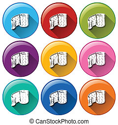 Round buttons with medical plasters
