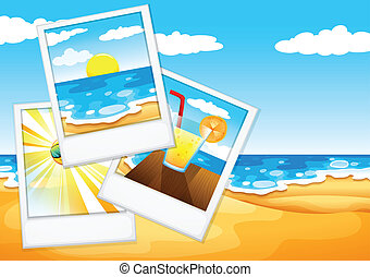 Photos at the beach - Illustration of the photos at the...
