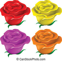 Colourful roses - Illustration of the colourful roses ton a...