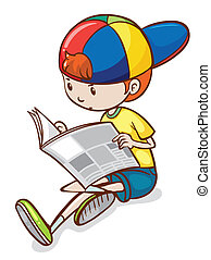 Boy and newspaper - Illustration of a boy reading newspaper