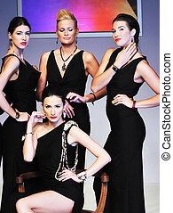 fashion show woman - young models group posing on fashion...