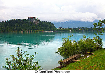 Bled lake - Medieval castle on top of a hill in Bled above...